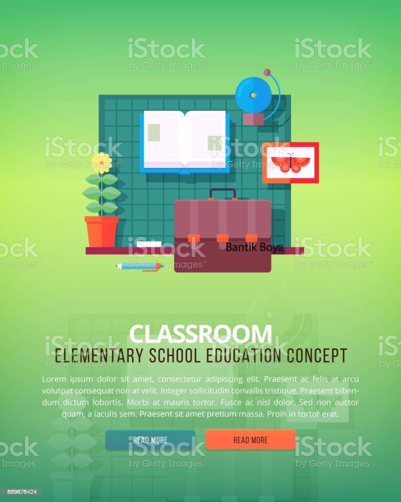 学校の授業や教室のフラットなデザイン イラスト概念のセットです。教育および科学のコンセプト イラスト。 ベクターアートイラスト