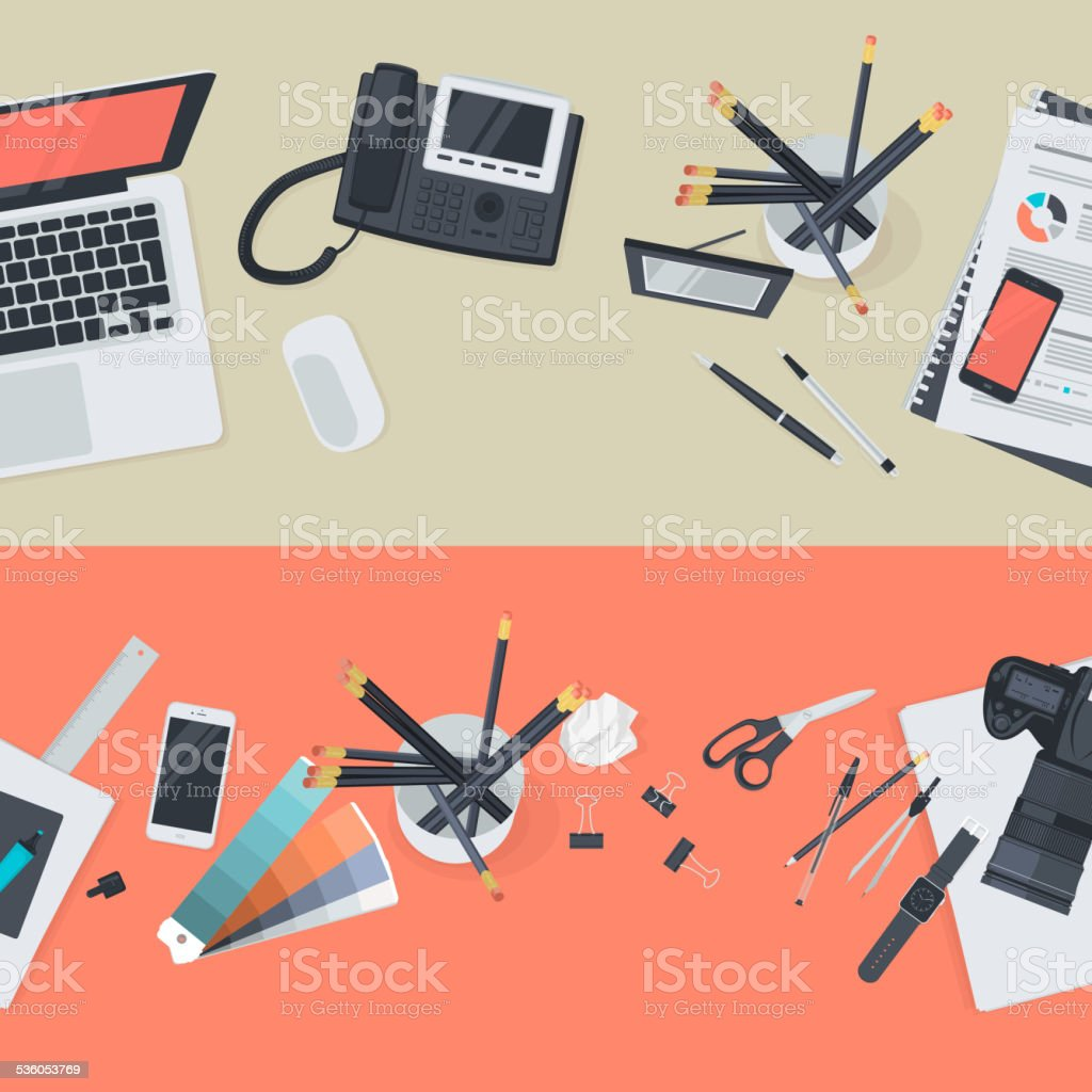 Set of flat design illustration concepts for workspace vector art illustration