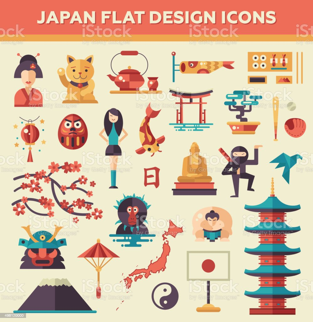 Set of flat design Japan travel icons and infographics elements vector art illustration