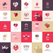 Set of flat design love icons