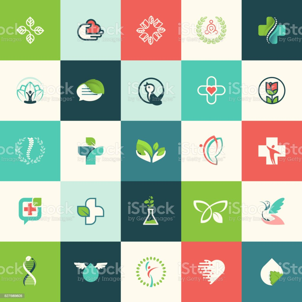 Set of flat design nature and beauty icons vector art illustration