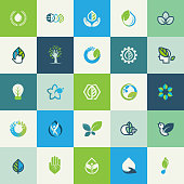 Set of flat design nature icons