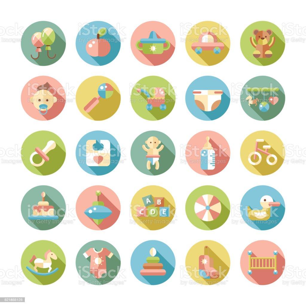 Set of flat design pastel cute baby icons vector art illustration