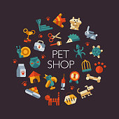 Set of flat design pet shop icons