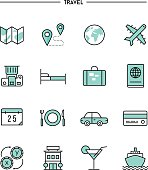 set of flat design, thin line travel icons
