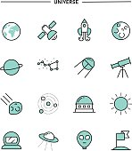 set of flat design, thin line universe icons