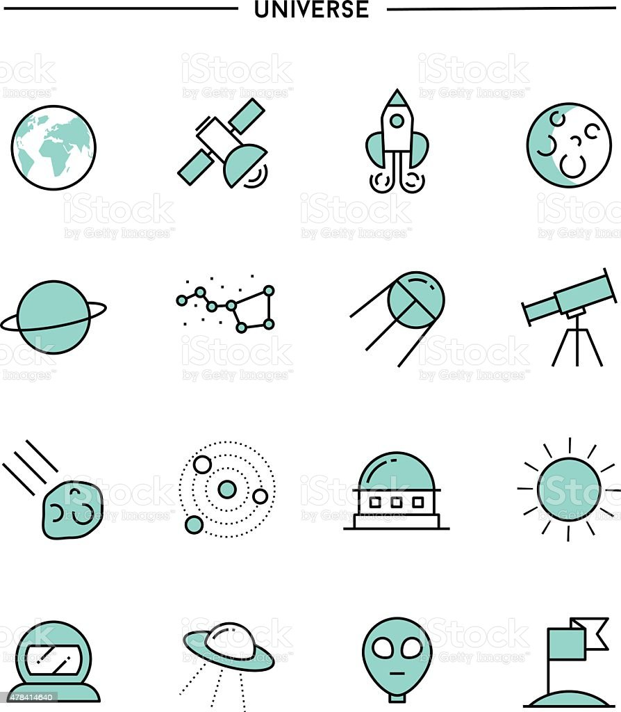 set of flat design, thin line universe icons vector art illustration
