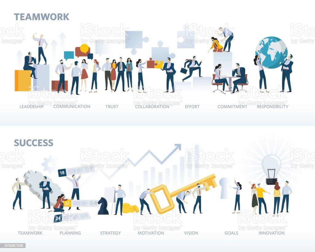 Reihe von flaches Design Web-Bannern, Teamwork und Erfolg, isoliert auf weiss – Vektorgrafik