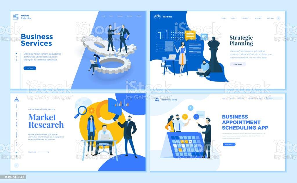 Satz von flache Design Webseite Vorlagen von Business-apps und Dienste, strategische Planung, Marktforschung. – Vektorgrafik