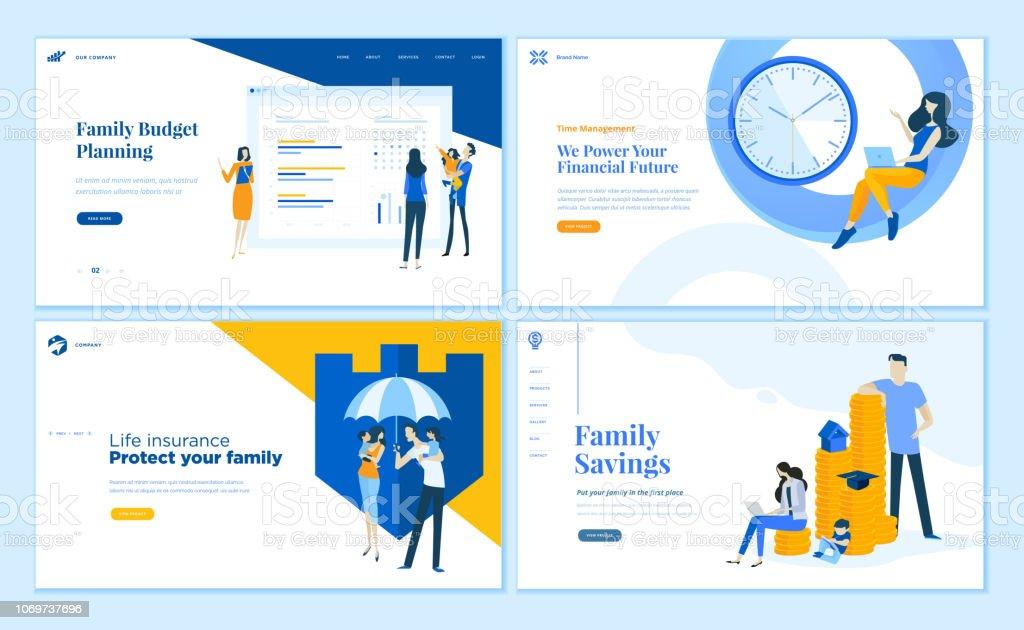 Satz von flachen Designvorlagen Web-Seite der Familie Einsparungen, Budgetplanung, Lebensversicherung, Zeitmanagement. – Vektorgrafik