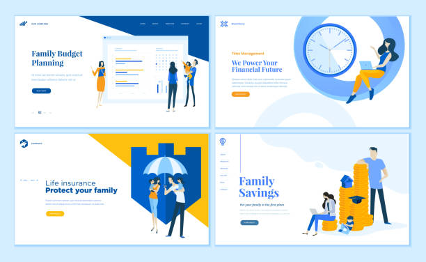 set of flat design web page templates of family savings, budget planning, life insurance, time management. - insurance stock illustrations
