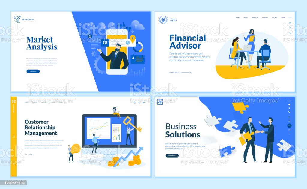 Set of flat design web page templates of market analysis, business solution, financial advisor, customer relationship management. royalty-free set of flat design web page templates of market analysis business solution financial advisor customer relationship management stock illustration - download image now