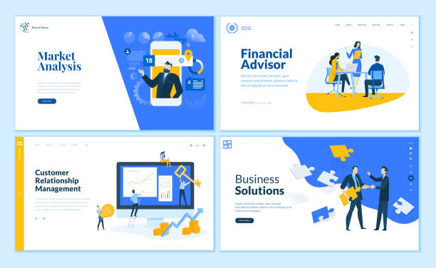 set of flat design web page templates of market analysis, business solution, financial advisor, customer relationship management. - business stock illustrations