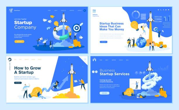 ilustrações, clipart, desenhos animados e ícones de jogo de moldes lisos do web page do projeto da companhia startup, idéias do negócio, consultando, crowdfunding - startup