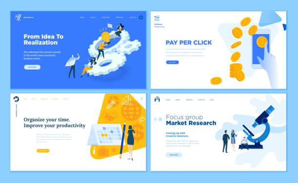 illustrazioni stock, clip art, cartoni animati e icone di tendenza di set di modelli di pagine web flat design di avvio, processo di sviluppo, ricerche di mercato, pay per click, gestione del tempo. - focus group