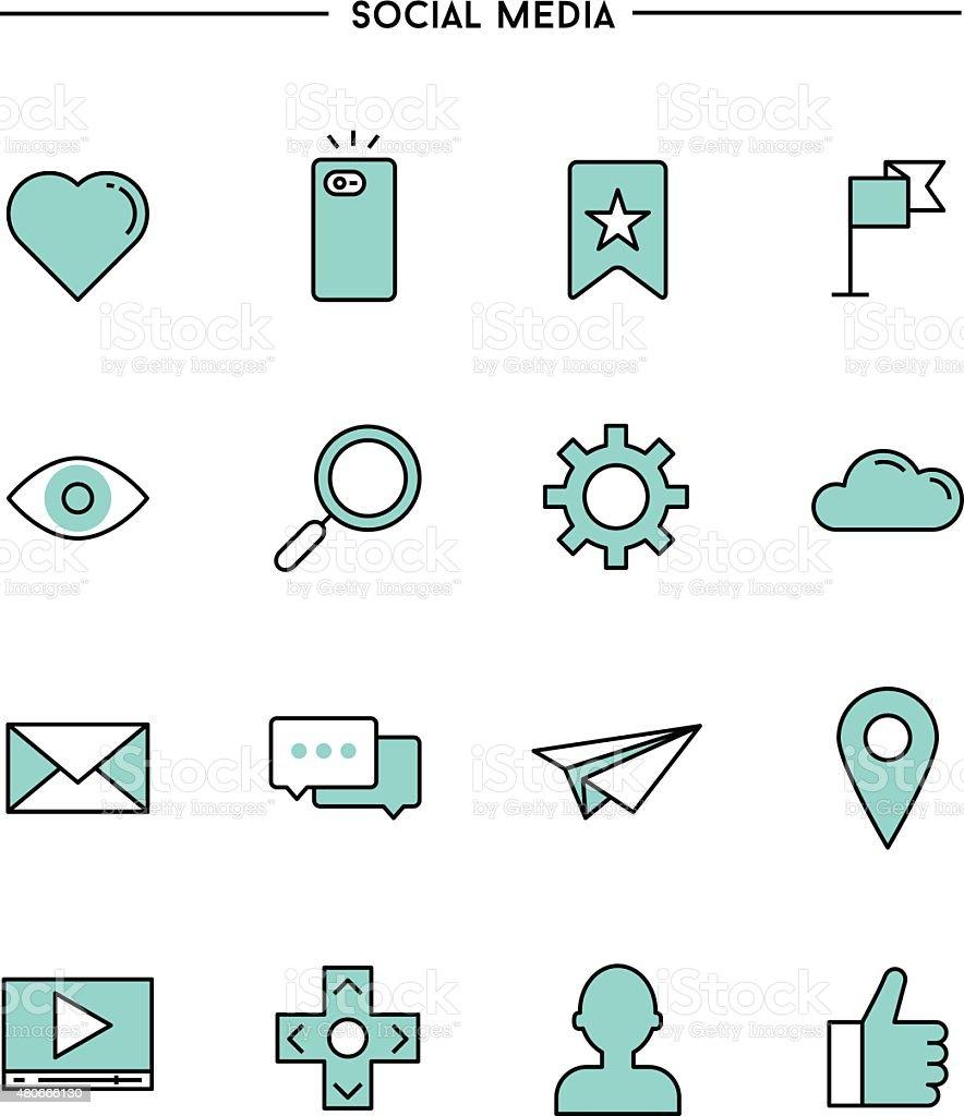 set of flat design,thin line social media icons vector art illustration