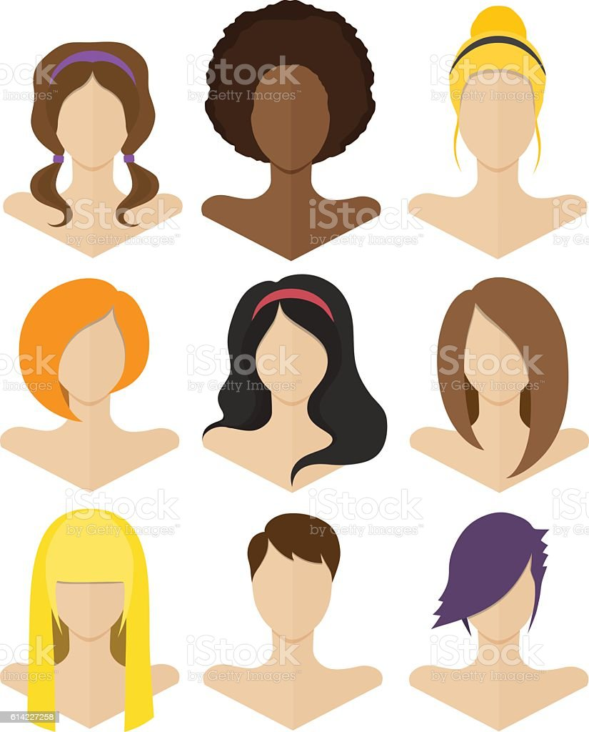 Set of flat female hairstyles – Vektorgrafik