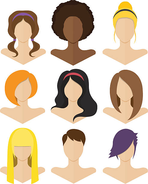 stockillustraties, clipart, cartoons en iconen met set of flat female hairstyles - blond curly hair