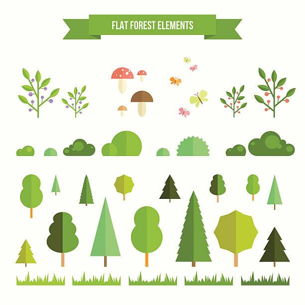 bildbanksillustrationer, clip art samt tecknat material och ikoner med set of flat forest elements - buske