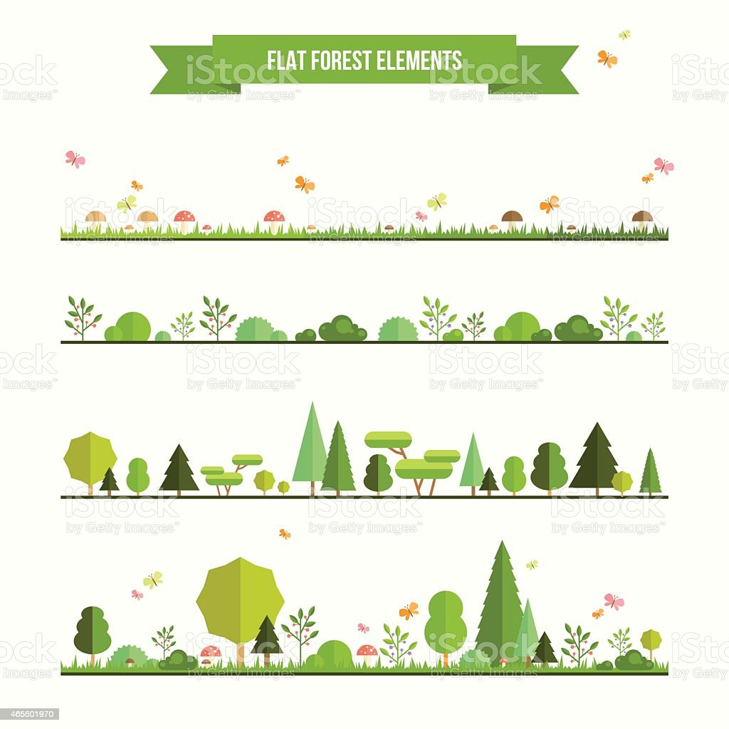 Set of flat forest elements vector art illustration
