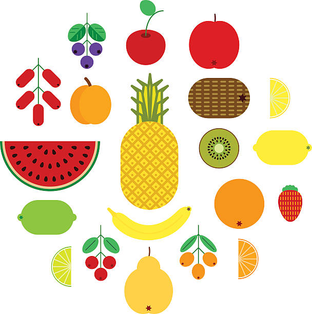 set of flat fruits and berries icons. colorful vector illustration - sanddorn stock-grafiken, -clipart, -cartoons und -symbole