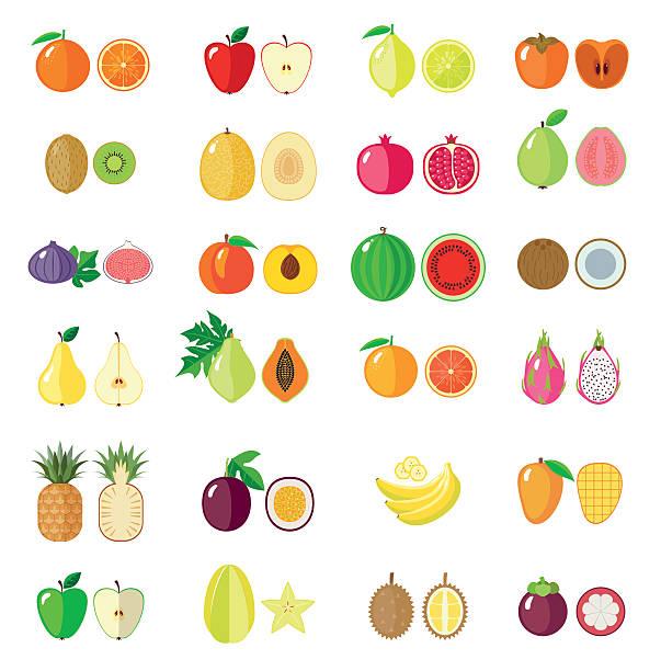 illustrazioni stock, clip art, cartoni animati e icone di tendenza di impostare di piatto di frutta. - illustrazioni di passiflora