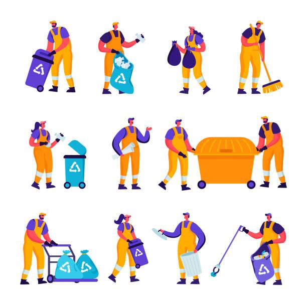 Set of Flat Garbage Recycling and Metallurgy Factory Workers Characters. – artystyczna grafika wektorowa