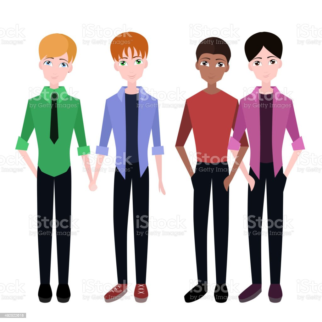 Set of flat gay couples vector art illustration