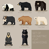 Set of flat geometric bear icons