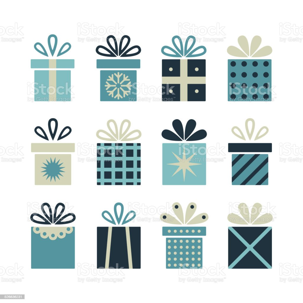 Set of flat gift packages, Christmas gifts vector art illustration