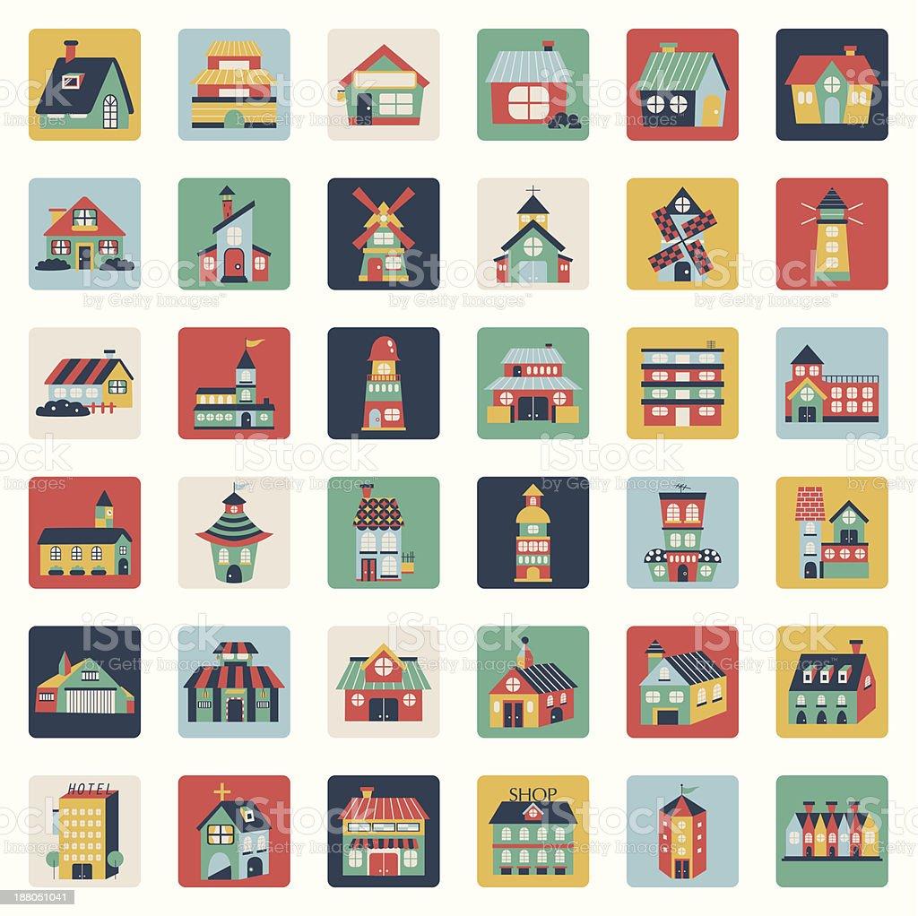 Set of flat house icons vector art illustration