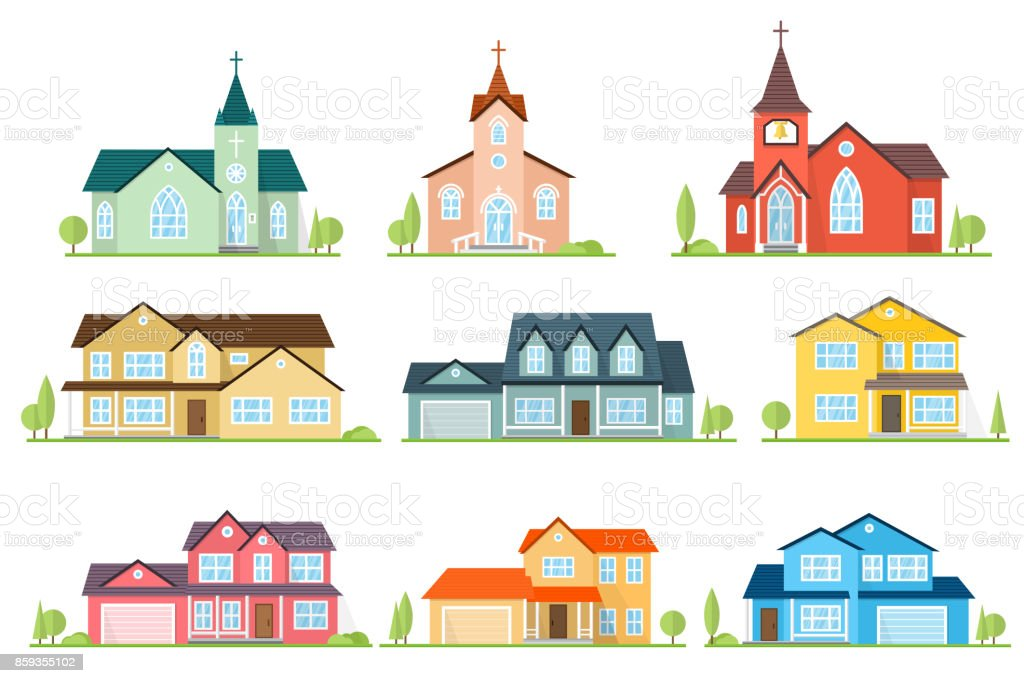 Set of flat icon suburban american houses and churches vector art illustration