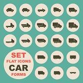 Set of flat icons, car form