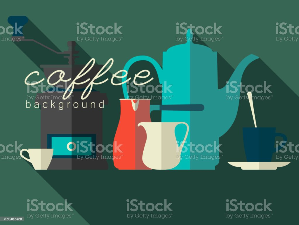 A set of flat icons. Coffee pot, grinder, cup, cezve, pitcher. Vector illustration. vector art illustration