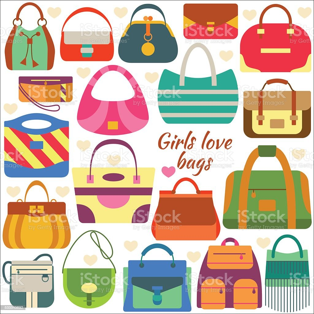 Set of flat icons. Different women bags vector art illustration