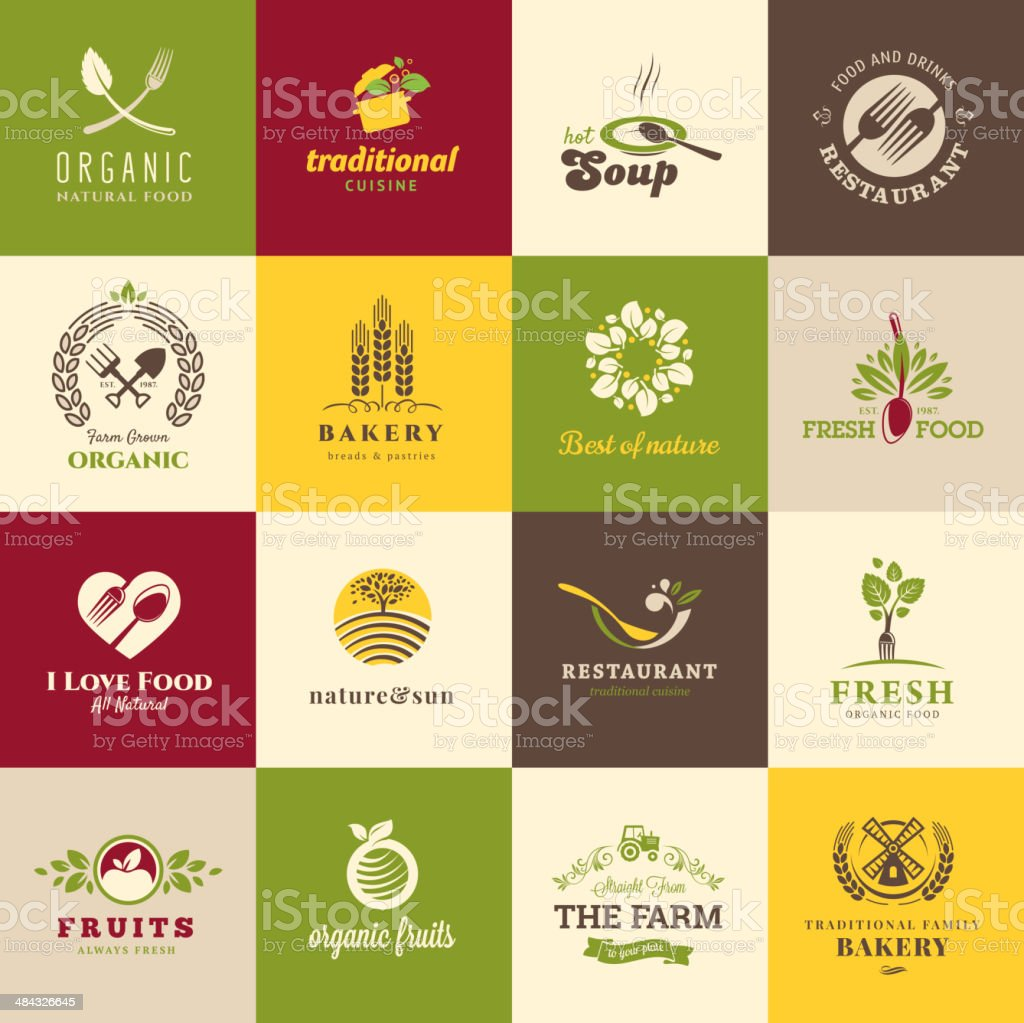 Set of flat icons for food and drink vector art illustration
