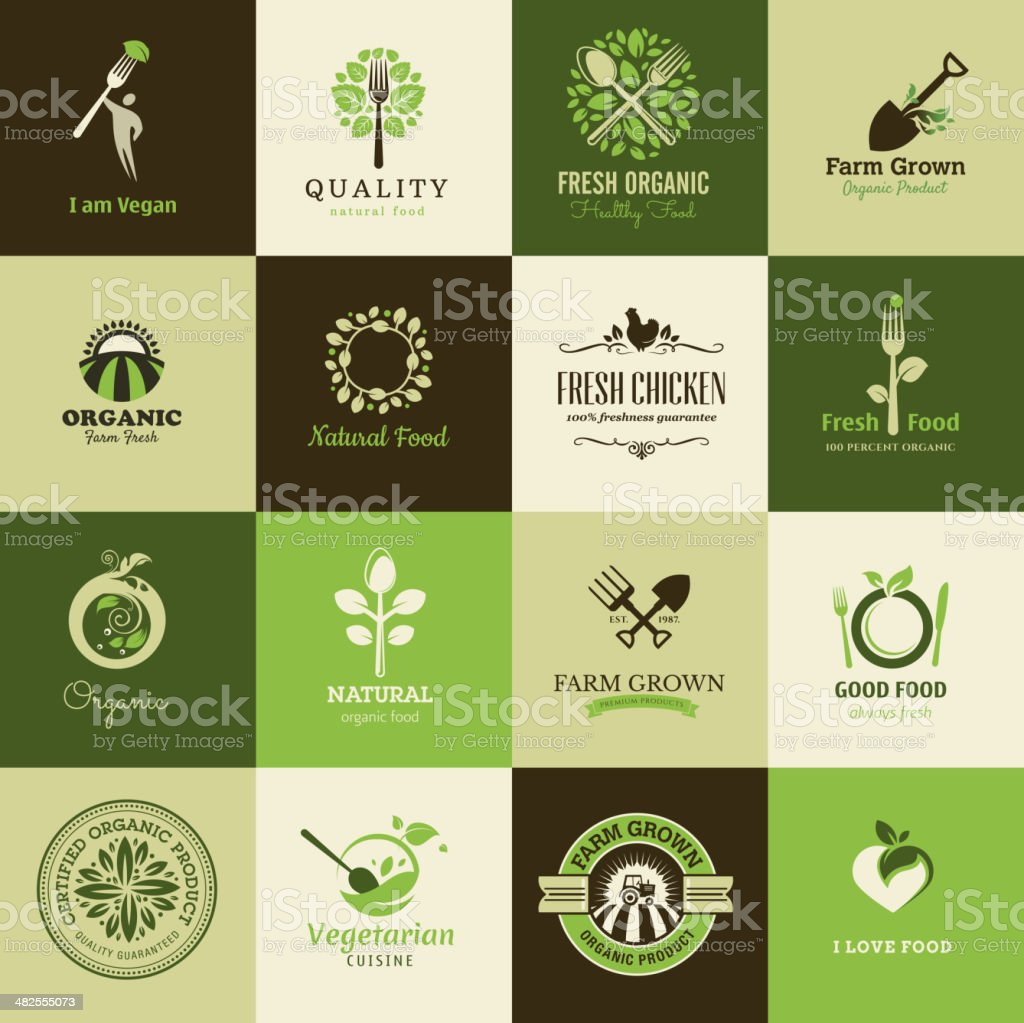 Set of flat icons for organic food and restaurants vector art illustration