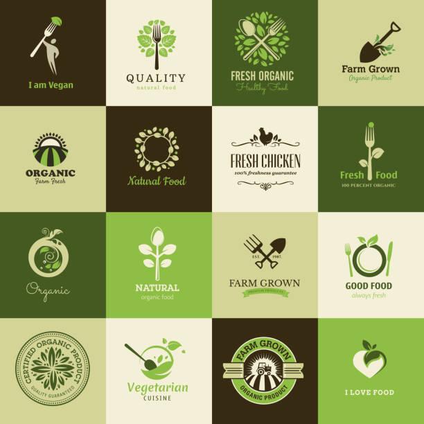 Ensemble de plat icônes pour les aliments biologiques et les restaurants - Illustration vectorielle