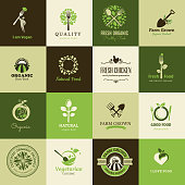 Set of flat icons for organic food and restaurants