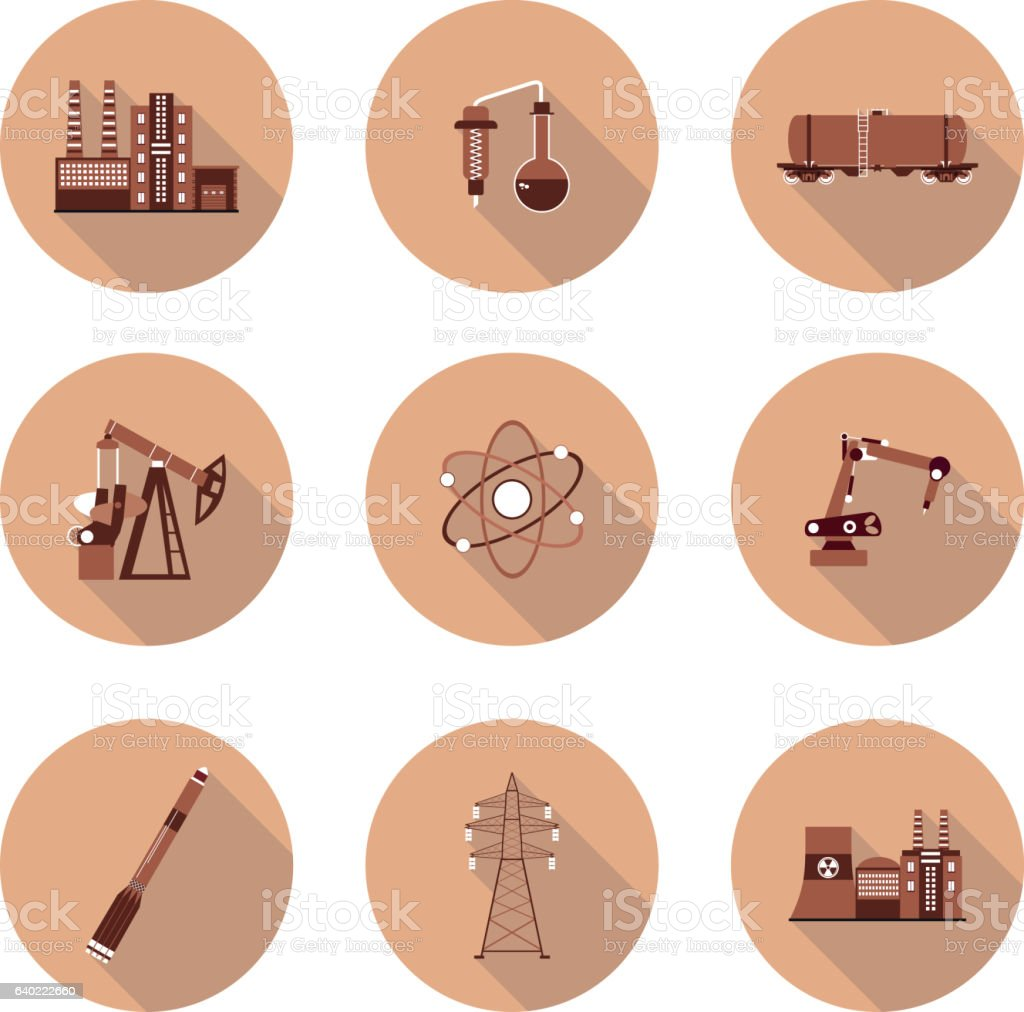 set of flat icons industry vector art illustration
