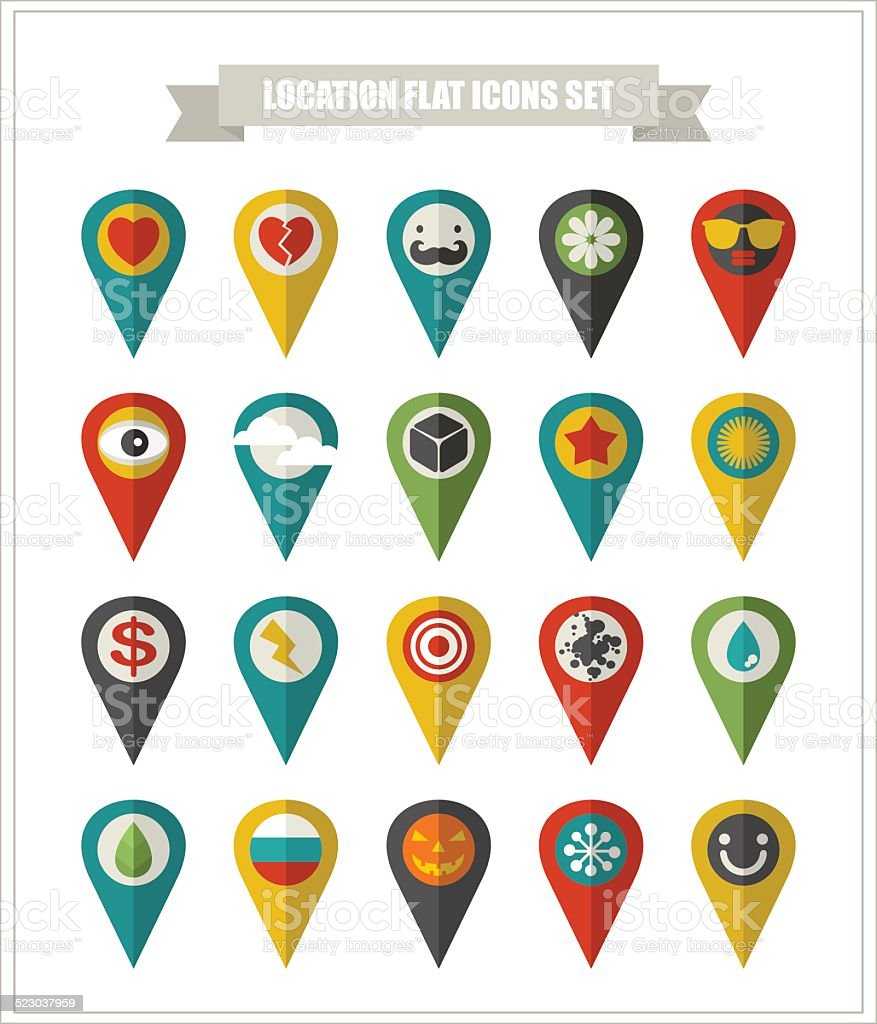 Set of flat icons location. vector art illustration