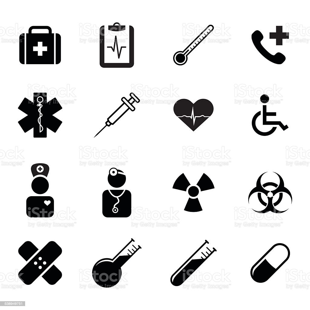 Set of flat icons - medicine, health, science and healthcare vector art illustration