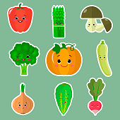 Cute cartoon vegetable smiles set of symbols for stickers. Flat design, vector illustration.