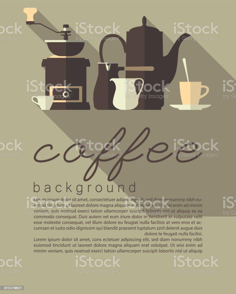Um conjunto de ícones planas. Talheres para cozinha café. Pote de café, moedor, Copa, cezve, jarro. Design de folhetos, panfletos, folhetos de publicidade, com espaço para texto. Ilustração em vetor. - ilustração de arte em vetor