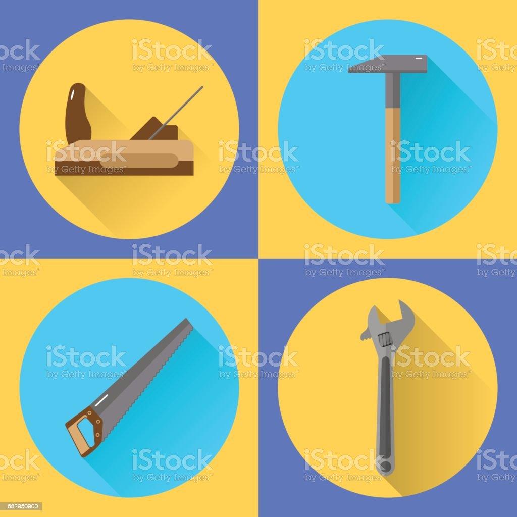 conjunto de iconos planos, herramientas, martillo, plano, Sierra, llave ilustración de conjunto de iconos planos herramientas martillo plano sierra llave y más banco de imágenes de amarillo - color libre de derechos