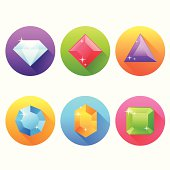 Set of flat icons with precious jewels