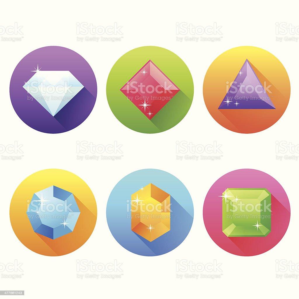 Conjunto de iconos plana con preciosas jewels - ilustración de arte vectorial