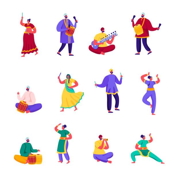 Set of Flat Indian Street Artists Characters. – artystyczna grafika wektorowa