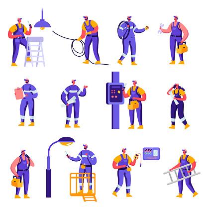 Set Of Flat Industry And Smart Home Maintenance Service Workers Characters - Stockowe grafiki wektorowe i więcej obrazów Brygadzista