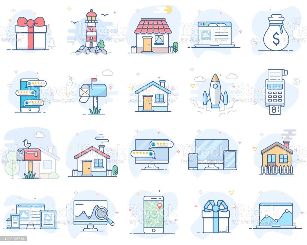 Conjunto de iconos de colores de línea plana. Ilustración de vector. Volumen 2 ilustración de conjunto de iconos de colores de línea plana ilustración de vector volumen 2 y más vectores libres de derechos de analizar libre de derechos
